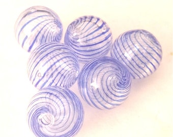 6pc 13mm blown glass fancy beads-8113g