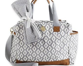 Personalized Mudpie Diaper Bags (Navy Stripe-Pink Check-Gray Geo Dot-Black Mini Dot)