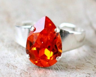 Tangerine | Swarovski Crystal | Pear Ring | Teardrop | Adjustable | Orange Wedding | Tangerine Jewelry | Orange Ring | Orange Jewlery