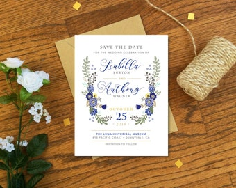 Floral Save the Date Cards or Magnets - Rustic Save the Date Magnets - Boho Wedding, Woodland Wedding, Rustic Wedding