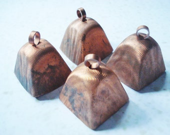 Vintage Copper Cowbells - 2 Large Rustic Cow Bells - Shabby Brass Cowbells - 2 Cowbell Charms