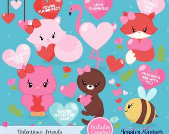 INSTANT DOWNLOAD - Valentine's Day Animal Clipart and Vectors for personal and commercial use