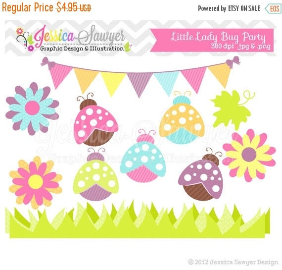 80% OFF - INSTANT DOWNLOAD,  lady bug clip art - spring clip art  - summer clipart - commercial use - card making - invitation clipart