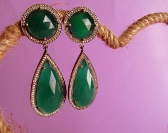 Astounding Green Agate Sterling Silver Ethnic Earrings