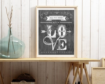 All You Need Is Love - Beatles Lyrics -Vertical PRINT - Frame Not Included