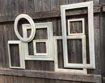 Distressed White Frame Gallery / 7 Pc  Empty Frame Grouping / Open Frame Wall Decor