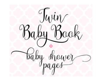 Set of 20 Baby Shower Pages for Charmbooks TWIN Baby Books