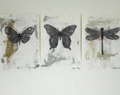 Moth Butterfly & Dragonfly Original Wall Graffiti Drawings