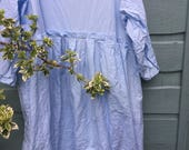 RITANOTIARA OSFA Southern Gothic pure cotton  boho sky blue empire line Oversized dress frayed edges prairie gypsy made to order lagenlook