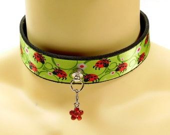 Lady bug choker with red flower front dangler - Free US Shipping
