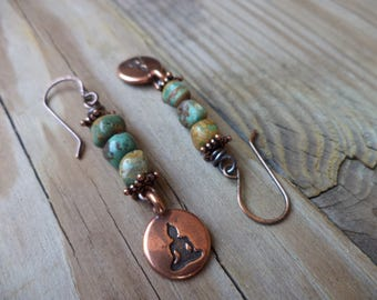 Buddha Earrings Buddha Jewelry African Turquoise Earrings Copper Earrings Yoga Earrings Yoga Jewelry Zen Earrings Zen Jewelry Cute Earrings