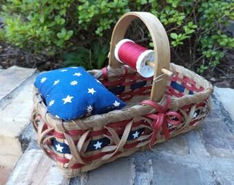 Americana Pincushion Basket Sewing Basket Mending Basket Handwoven Basket Made in USA Old Glory Basket Patriotic Basket Stars and Stripes