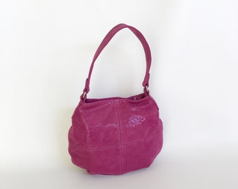 Pink Suede leather Bag, Women Fashion Hobo Bags, Trendy Slouchy Handbag, Stylish Shoulder Handbags, Aida