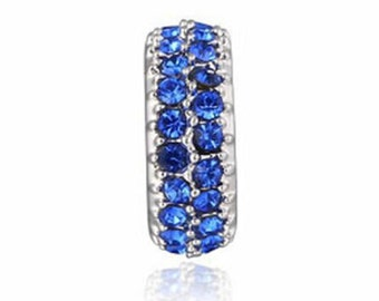 Blue Crystal Spacer Bead for European Style Charm Bracelet.
