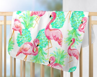 Pineapple Flamingo Print Baby Blanket