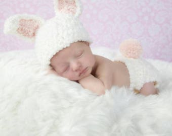 On sale and ready to ship!*** Crochet newborn baby girl bunny hat and diaper cover