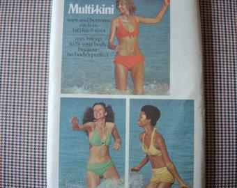 vintage 1970s Butterick sewing pattern 6674 bikini swimsuits 3 styles 6 sizes