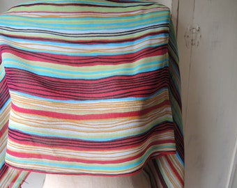vintage 1960s sheer rayon scarf made in Japan colorful stripes  14 x 40 inches
