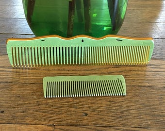 Pair of Jade Green and tortoise shell colored Vintage ANTIQUE Bakelite/Celluloid Combs, Wonderful Mothers Day Gifts Mid Century