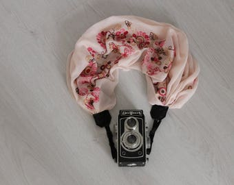 Embrodered camera strap Luxury camera strap Moonlight camera strap Scarf camera strap Pink camera scarf strap Camera accessories Camera wrap