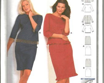 Burda 8904 uncut  size 8 - 16 seam allowance and hem included womans skirt and top