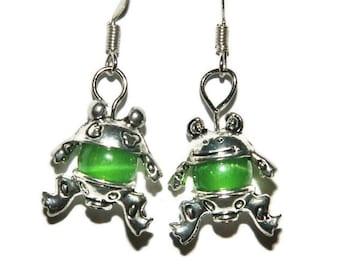 Frog Earrings, Cute Fun Earrings, Short Dangle Earrings