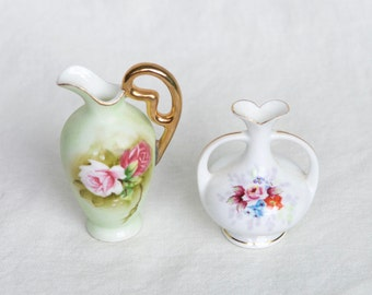 Two vintage bud vases…occupied Japan vase and Lefton Heritage Green miniature pitcher...hand painted.