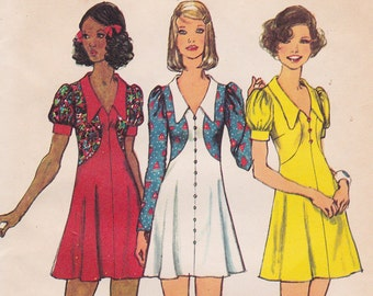 "FF 70s Bust 34"" BOHO Dress with Collar and Shaped Bodice, Mini Dress [Simplicity 5499] Size 12, UNCUT"