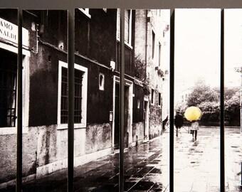 Yellow Umbrella, Venice, Italy, McArthur Vertical Wood Blocks