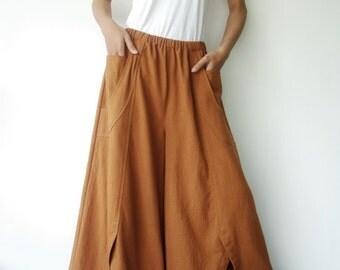 NO.41 Ochre Cotton Wide Leg Pants, Unique Pockets Capri Trousers, Women's Pants