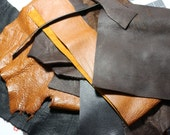 6.5 pounds of Genuine Leather Scraps - Leather Remnants - brown black tan natural leather - will ship priority