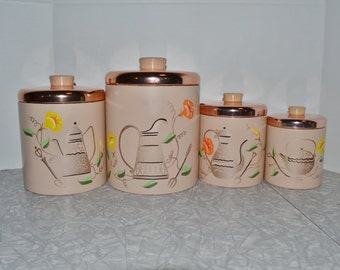 Ransburg Pink Canister Set ~ Vintage Canisters ~ Kitchen Storage ~ Epsteam