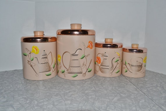 Ransburg Copper & Pink Canister Set ~ Vintage Canisters ~ Kitchen Storage ~ Epsteam