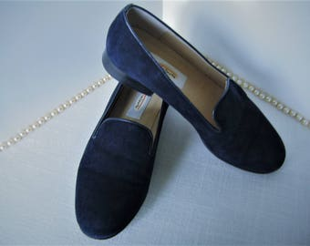 1980s TALBOT'S Women's Shoes Navy Blue Suede w Leather Flats SIZE 5M Designer Wonderful Condition