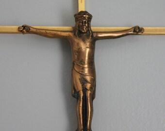Vintage Crucifix Cast Brass Jesus, Gold Cross Wall Art, Religious INRI Faith, Christian Cross, vintage metal crucifix, Brass crucifix