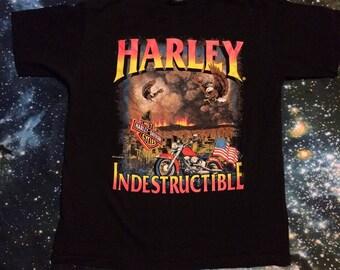 Vintage Harley Davidson Motorcycles Indestructible Eagle Battle T-Shirt