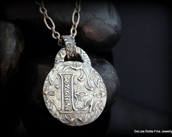 Recycled Silver, Initial, Pendant, Fine Silver, Pewter Chain, Gift, Christmas, free Shipping USA