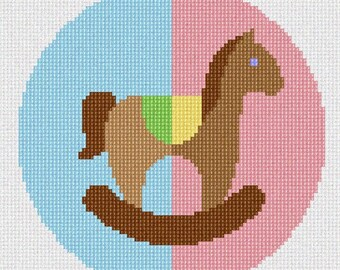 Needlepoint Kit or Canvas: Rocking Horse Uni