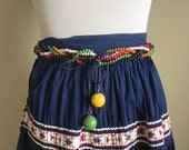 1940s Braided Wooden Bead Tie Belt, Red, Blue, Yellow, Green, White and Black Beads