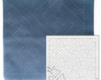 Sashiko Fabric Pattern Sampler Kit | Olympus Sashiko Sayagata (#204) on Navy Fabric