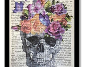 Dictionary Book Print Flowers and Skull Collage of Flowers, Skull With Flowers, 8x10 Dictioanry Art Print, Skeleton Anatomy Floral Print