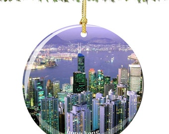 Hong Kong Christmas Ornament in Porcelain, Double Sided 2.75 Inches