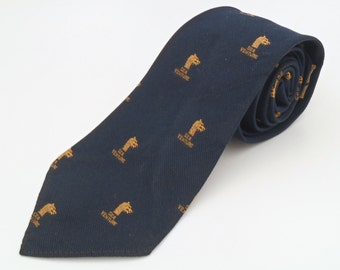 Vintage 1960s Navy Blue Novelty Silk Tie with Sea Venture Club Pattern from Triminghams