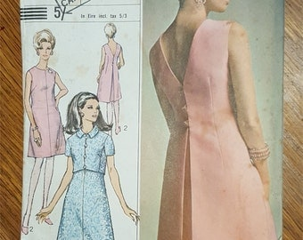 Vintage 60s sewing pattern cocktail dress with back inverted pleat and cropped jacket Simplicity 7386 bust 36 inches - Unused