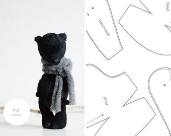 PDF Sewing Pattern For Women Mohair Teddy Bear Pattern Stuffed Animal Pattern Artist Teddy Bear 8 inches Step By Step PDF Tutorial