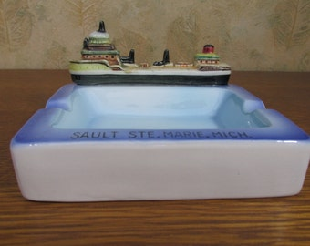 Vintage Souvenir Ash Tray with Freighter