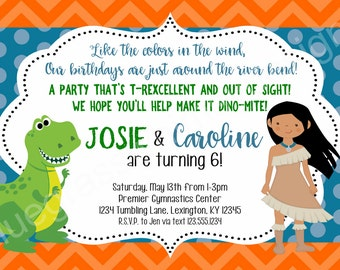 Pocahontas, T-Rex Brother, Sister, Twins Birthday Party Invitation