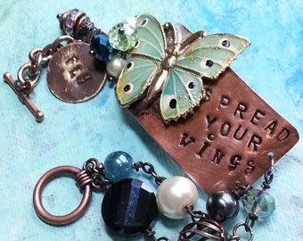 Metal Bracelet, butterfly bracelet, mixed media bracelet,charm bracelet, inspirational bracelet, spread your wings, stamped,mixed media art