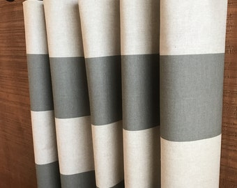 "SUMMER SALE! Linen Summerland Gray Cabana (6"" WIDE Stripes) Curtains 24W or 50W x 63, 84, 90, 96 or 108L"