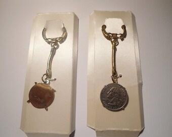 2 Vintage Goldplated Quarter Coin Holder Key Rings